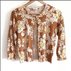 Fossil 3/4 Sleeve Brown Floral Button Cardigan- M